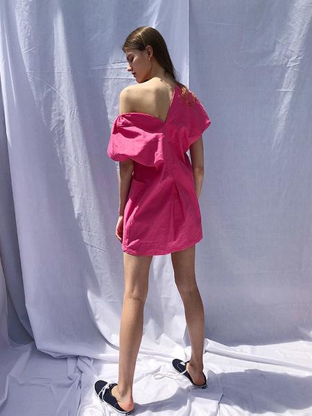 ECOMMAE Big Pocket Unbalanced Linen Mini Dress - Pink