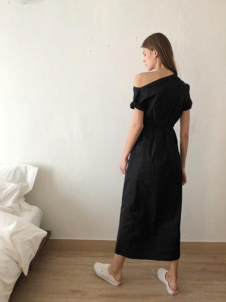 ECOMMAE Unbalanced Tulip Shirt Dress - Black