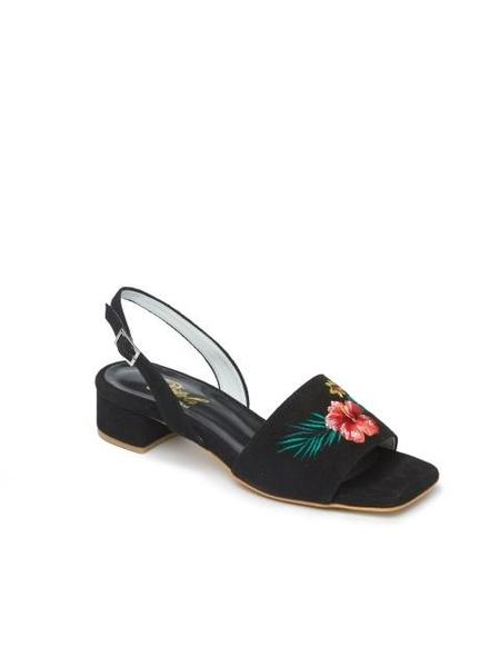 DITOLE Hibiscus Needlepoint Sandals - Black