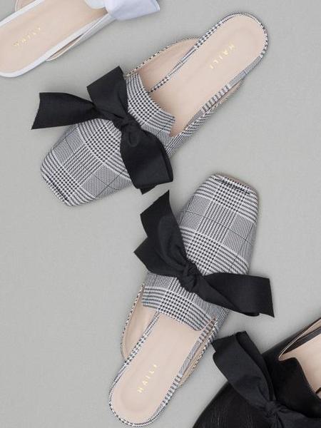 HAILI Ribbon Romance Mule - Gray