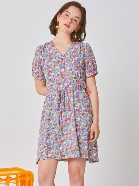 Ryul + Wai: Flower V Neck Dress - Blue