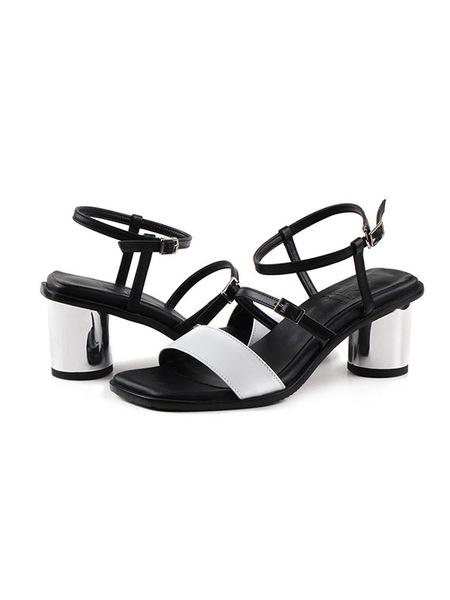 che evoca Square Toe Round Heel SANDAL - Black