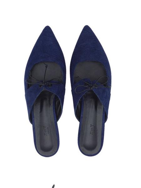 JI LLL. Y Wahoo Pointed Toe Leather Strap Mule - Deep Blue