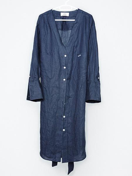 Unisex EMIS Linen Robe - Navy