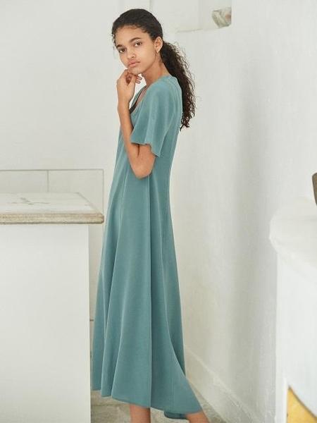 AKRO V-Neck Silk Maxi Dress - Airy Blue