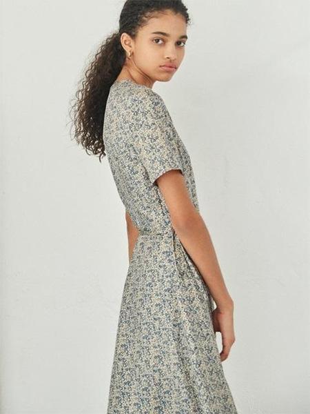 AKRO Floral-Print Silk Wrap Dress - Beige