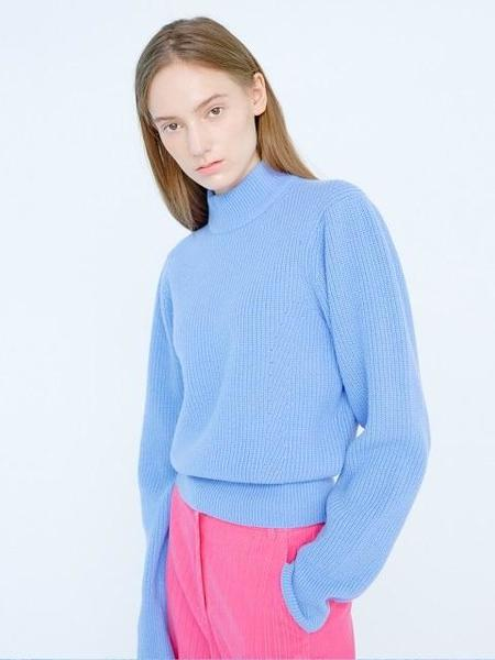 EENK Key Puff Sleeved Turtleneck - SKY BLUE
