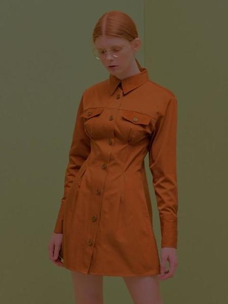CITYBREEZE Pin Tuck Dress - Brown
