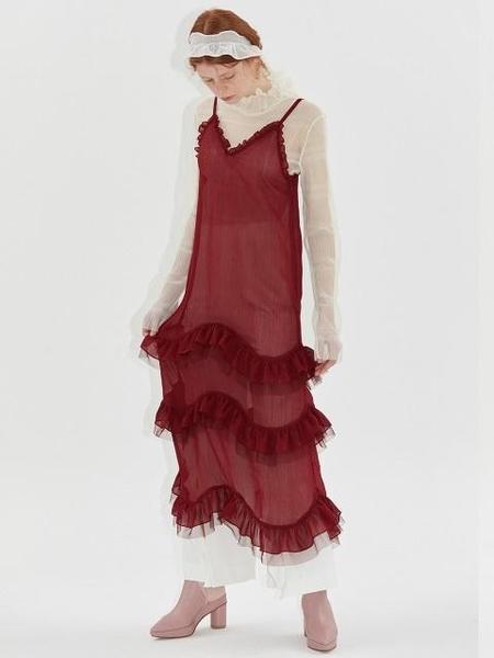 Dew E Dew E Chiffon Bustier Dress - Wine