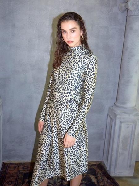 Happening Leopard Long Jersey Dress - Beige