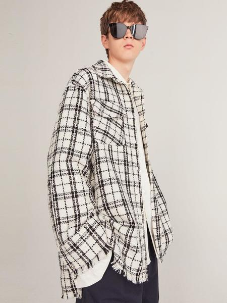 Unisex HEICH BLADE Outer Tweed Check Shirt - White