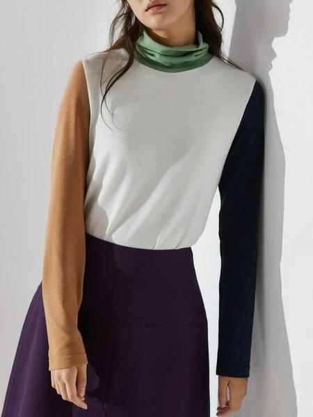 AHEIT Color Block High Neck Jersey - Ivory