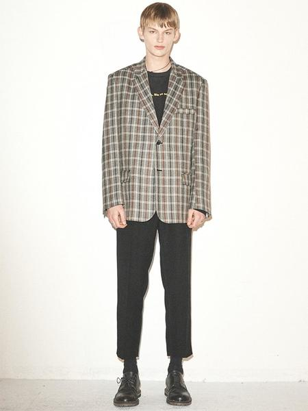 HALEINE Oversized Check Blazer - Grey/Brown
