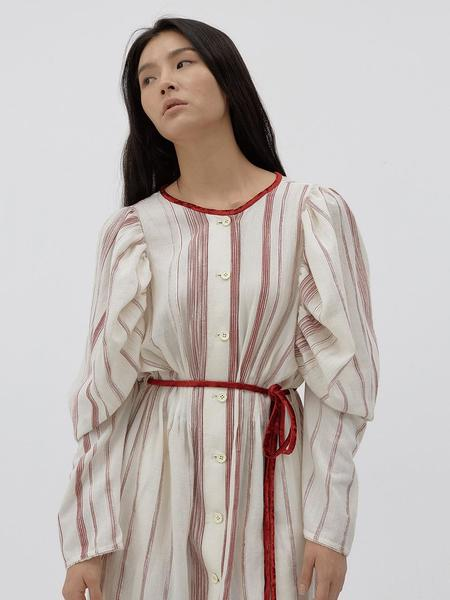 LES VACANCES Embroidered Cotton Voile Midi Shirt Dress - Ivory