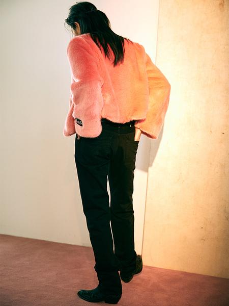MIGNONNEUF Crop Faux Fur Jacket - Pink