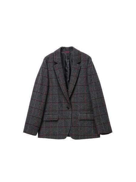 Joseph & Stacey J Boy Fit Check Jacket - Brown/Gray