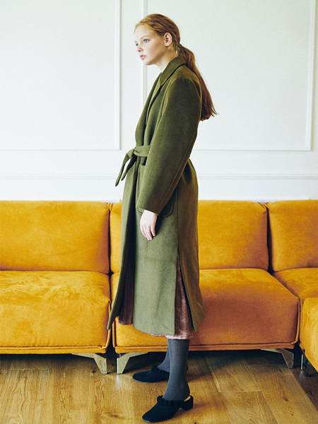 HIDDEN FOREST MARKET Classic Robe Coat - Khaki/Navy