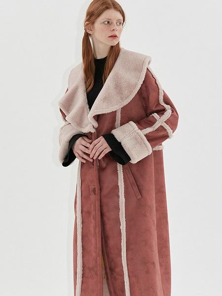 Dew E Dew E Flare Collar Faux Shearling Coat - Pink