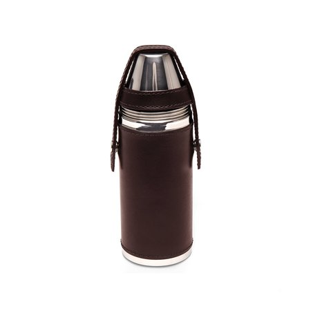 Freemans Sporting Club Ettinger 8oz Hunter's Flask With 4 Cups - Chestnut