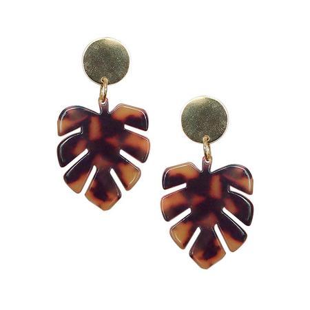 Strut Jewelry Lucite Monstera Leaf Earrings