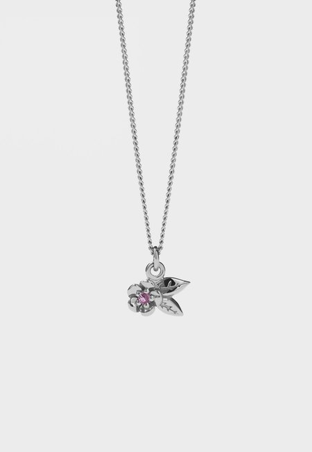 Meadowlark Alba Charm Necklace With Stone - silver/pink sapphire