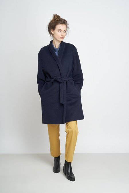 Jungle Folk Aika Dropped Shoulders Short Coat - Navy