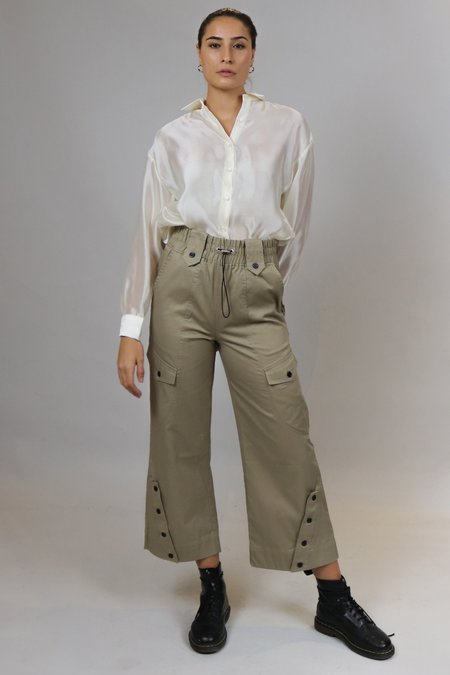 House of Sunny Buttoned Cargo Pants - Olive