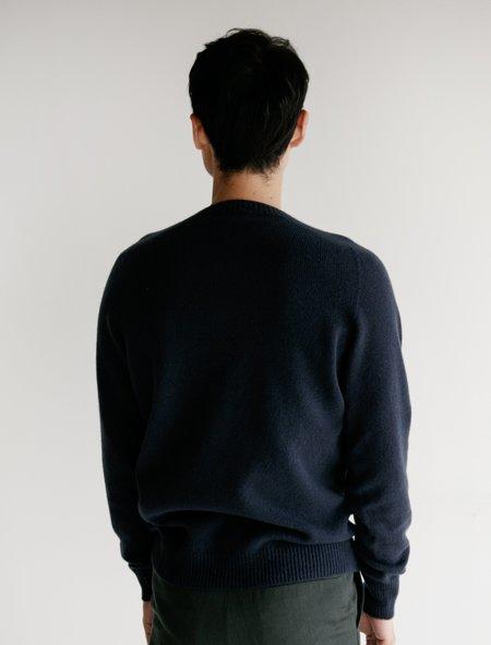 Margaret Howell Merino Cashmere Saddle Neck Crew Sweater - Dark Raf