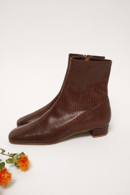 BY FAR ESTE BOOT - BROWN LIZARD EMBOSSED