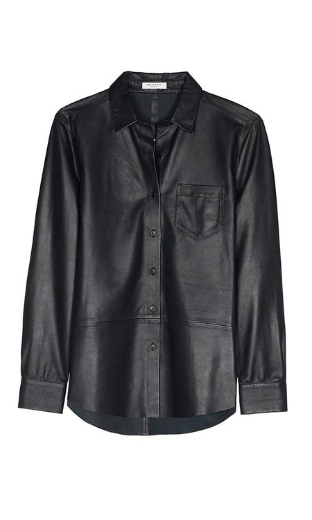 Equipment Brett Leather Shirt - True Black