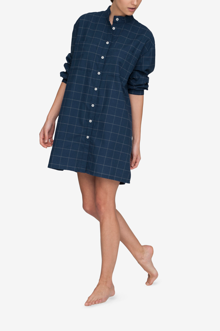 The Sleep Shirt Placket Flannel Sleep Shirt - Navy Windowpane