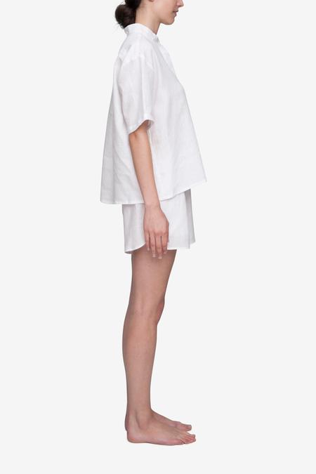 The Sleep Shirt Set Short Sleeve Cropped Sleep Shirt and Curved Hem Linen Short - White