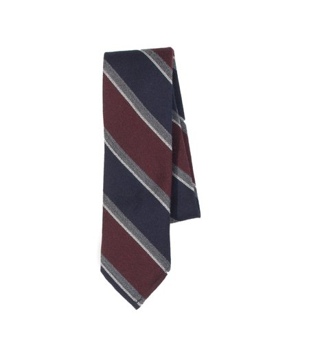 Freemans Sporting Club Unstructured Necktie - Navy Burgundy Stripe