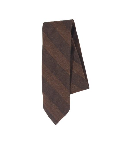 Freemans Sporting Club Unstructured Necktie - Brown Stripe