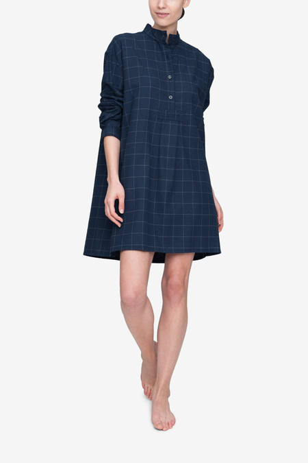 The Sleep Shirt Short Sleep Flannel Shirt - Navy Windowpane