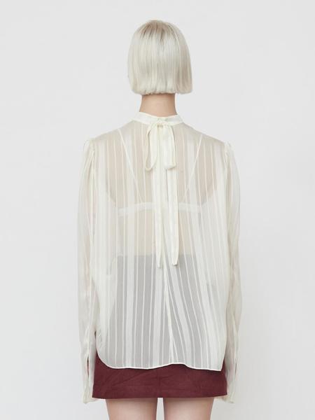 GABRIEL LEE Sheer Stripe Blouse - Cream
