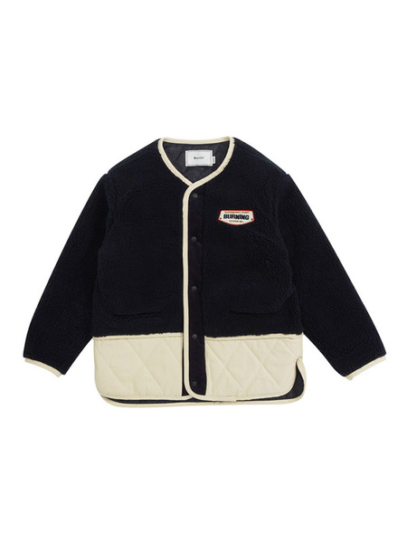 Unisex BURNING Quilted Button Jacket - Navy