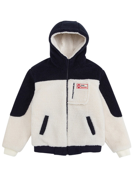 Unisex BURNING Fleece Hoodie Jacket - Navy