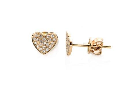 Ef Collection Single Diamond Heart Stud Earring - Yellow Gold