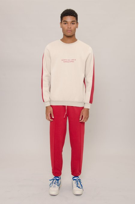 North Hill Colorblock Crewneck - Beige/Red