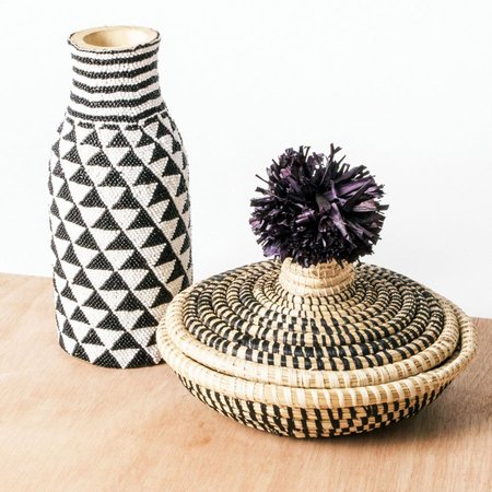 Valiente Goods Kazi Beaded Bud Vase - Black/White