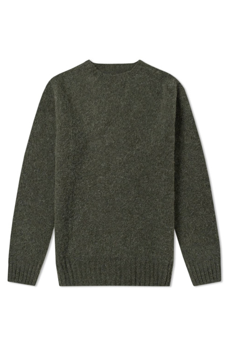Hunting Ensemble Shaggy Wool Knit - Forest Green