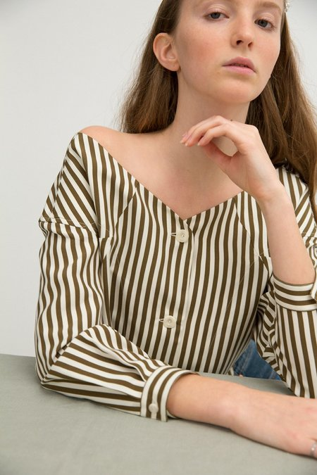 Sherie Muijs No. 25 Silk Shirt - Khaki Stripe