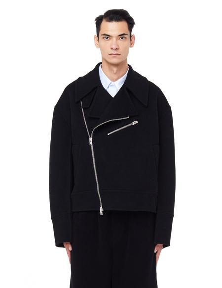 Yang Li Oversized Wool Biker Jacket - Black