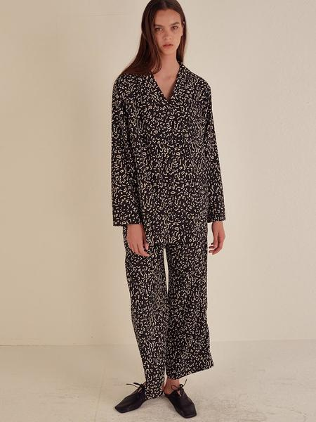 HOTELNUANCE Franch Pattern Pajamas - Black