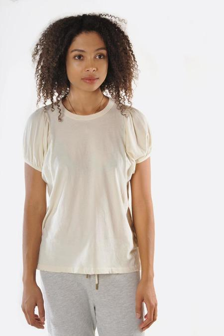 The Great. Washed Puff Sleeve Tee - WHITE
