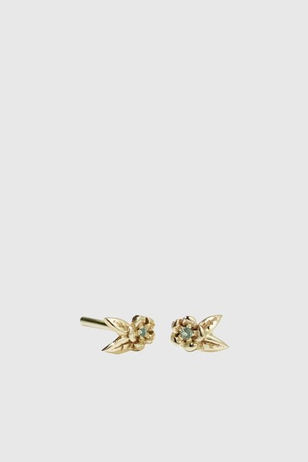 Meadowlark Micro Alba Stud Earrings Stone Set - Gold Plated/Green Sapphire