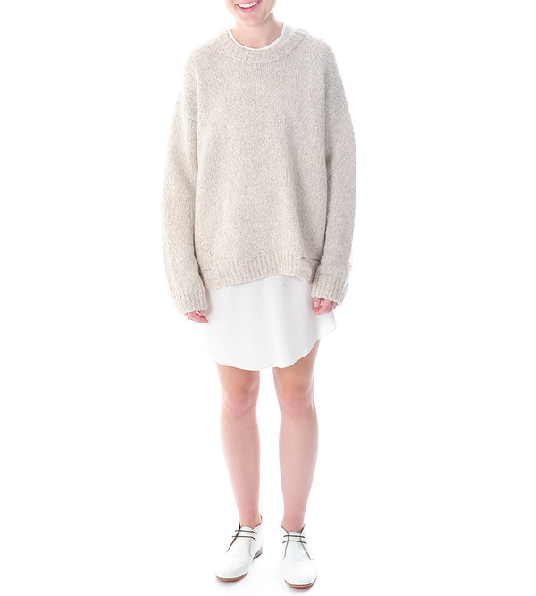 Raquel Allegra Distressed Oversized Pullover