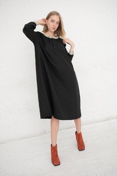 ICHI ANTIQUITES L/S Linen Dress - BLACK/NATURAL