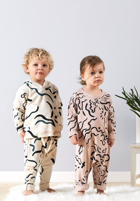 KIDS North of West Kids Painted Organic Jumpsuit - Rose/Charcoal